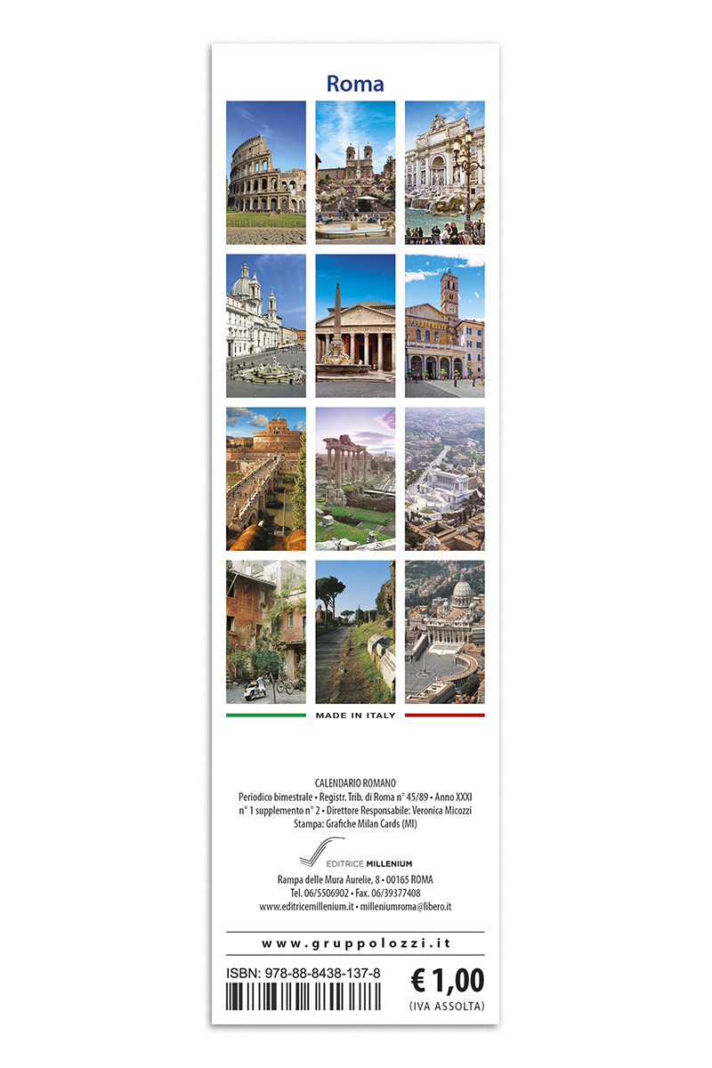Calendario As Roma 2019.Calendario Segnalibro Roma 3 Vedute Giorno
